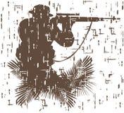 Siluetta del soldato nell'azione illustrazione di vettore nello stile 4 di lerciume Immagini Stock