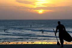 Siluetta del surfista Immagini Stock