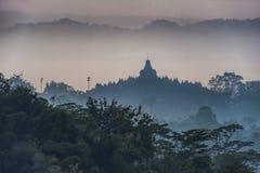 Siluetta del tempio di Borobudur Fotografie Stock Libere da Diritti