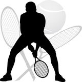 Siluetta del tennis Fotografie Stock Libere da Diritti