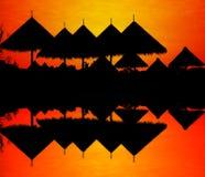 Siluetta del tetto dello zoo. Fotografia Stock