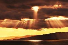 Siluetta del tramonto immagine stock