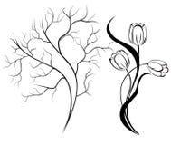 Siluetta del tulipano del mazzo illustrazione di stock