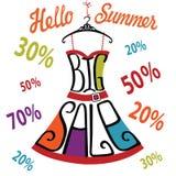Siluetta del vestito dalle parole, segno di percentuali Grande vendita Fotografia Stock Libera da Diritti