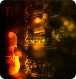 Siluetta del violino dell'annata con la nota Immagine Stock Libera da Diritti