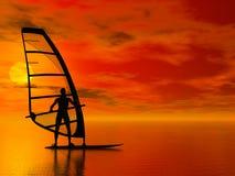 Siluetta del Windsurfer Fotografia Stock Libera da Diritti