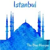 Siluetta dell'acquerello della moschea blu Fotografia Stock