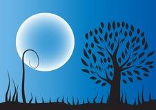 Siluetta dell'albero della luna contro Fotografie Stock Libere da Diritti