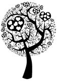 Siluetta dell'albero di amore del punto Fotografia Stock