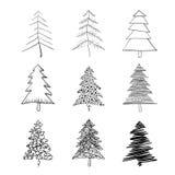 Siluetta dell'albero di Natale Fotografie Stock