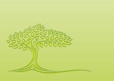 Siluetta dell'albero su un fondo verde Immagine Stock Libera da Diritti