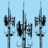 Siluetta dell'antenna di GSM Fotografia Stock