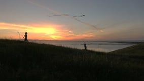 Siluetta dell'aquilone di volo della famiglia insieme al movimento lento HD di tramonto video d archivio