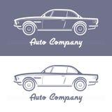 Siluetta dell'automobile sul fondo leggero di gray di ardesia Fotografie Stock