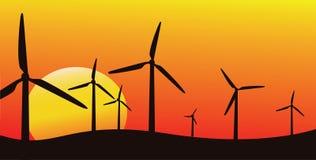 Siluetta dell'azienda agricola di vento Immagine Stock Libera da Diritti