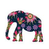 Siluetta dell'elefante con i fiori, Fotografie Stock