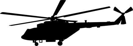 Siluetta dell'elicottero Fotografia Stock