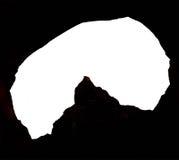 Siluetta dell'entrata della caverna Immagine Stock