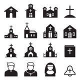 siluetta dell'icona della chiesa Fotografia Stock Libera da Diritti