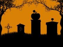 Siluetta dell'illustrazione di Halloween Fotografia Stock Libera da Diritti