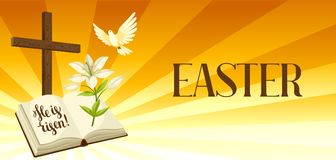 Siluetta dell'incrocio di legno con la bibbia, il giglio e la colomba Cartolina d'auguri felice dell'illustrazione o di concetto  royalty illustrazione gratis
