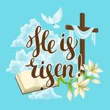 Siluetta dell'incrocio di legno con la bibbia, il giglio e la colomba Cartolina d'auguri felice dell'illustrazione o di concetto  illustrazione vettoriale