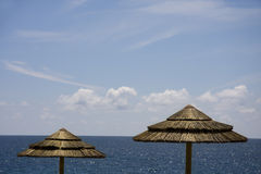 Siluetta dell'ombrello sulla spiaggia Fotografia Stock Libera da Diritti