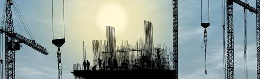 Siluetta dell'operaio di costruzione Fotografie Stock Libere da Diritti