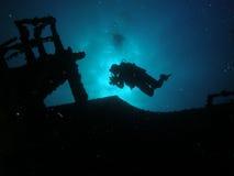 siluetta dell'operatore subacqueo Fotografia Stock Libera da Diritti