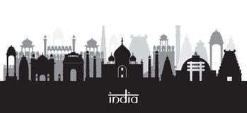 Siluetta dell'orizzonte dei punti di riferimento dell'India in bianco e nero Immagini Stock