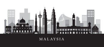 Siluetta dell'orizzonte dei punti di riferimento della Malesia in bianco e nero Fotografia Stock Libera da Diritti