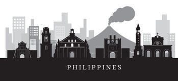 Siluetta dell'orizzonte dei punti di riferimento di Filippine in bianco e nero Immagini Stock