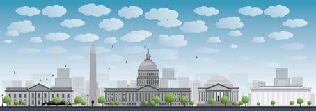 Siluetta dell'orizzonte della città del Washington DC Fotografie Stock Libere da Diritti