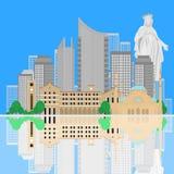Siluetta dell'orizzonte della città di Beirut Insegna libanese piana dell'icona di turismo, cartolina Concetto di viaggio del Lib Immagine Stock