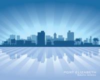Siluetta dell'orizzonte della città di Elizabeth South Africa del porto illustrazione di stock