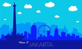 Siluetta dell'orizzonte della città di Jakarta illustrazione vettoriale