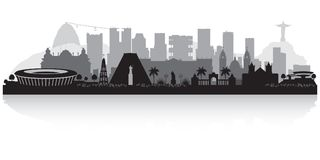 Siluetta dell'orizzonte della città di Rio de Janeiro Brazil illustrazione vettoriale
