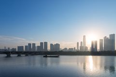 Siluetta dell'orizzonte di Chang-Sha fotografie stock