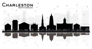 Siluetta dell'orizzonte di Charleston South Carolina City con le costruzioni nere isolate su bianco royalty illustrazione gratis