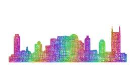 Siluetta dell'orizzonte di Nashville - linea arte multicolore Fotografia Stock