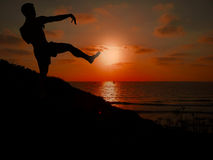 Siluetta dell'uomo che fa 'chi' del tai nel tramonto Immagine Stock Libera da Diritti