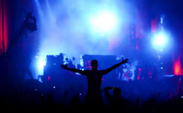 Siluetta dell'uomo che gode di un concerto di musica Immagini Stock Libere da Diritti