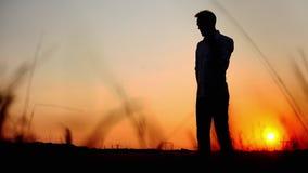 Siluetta dell'uomo che parla sul telefono cellulare contro il sole nell'uguagliare tempo sul tramonto stock footage