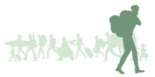 Siluetta dell'uomo con lo zaino Gruppo di diversi viaggiatori nei precedenti illustrazione di stock