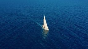 Siluetta dell'uomo Cowering di affari Navigazione dell'yacht sul mare aperto al giorno soleggiato Barca a vela in mare archivi video