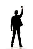 Siluetta dell'uomo d'affari asiatico a braccia aperte immagine stock libera da diritti