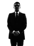 Siluetta dell'uomo dell'agente della guardia del corpo di sicurezza di servizio segreto Fotografia Stock
