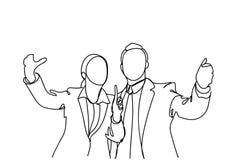 Siluetta dell'uomo di affari e della mano della donna che Gesturing parlare, discussione di Point Finger Meeting dell'uomo d'affa royalty illustrazione gratis