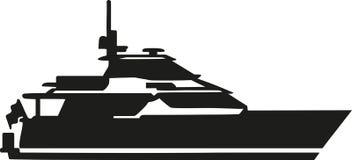 Siluetta dell'yacht del motore illustrazione di stock