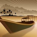 Siluetta della barca Immagine Stock